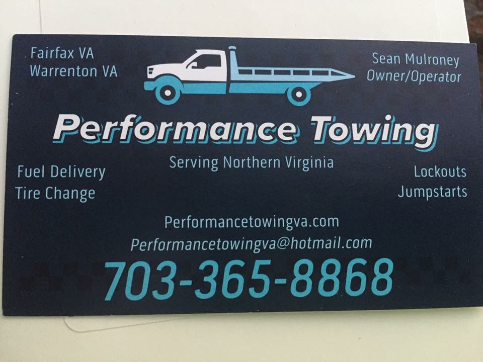 Performance Towing serving the northern Virginia.